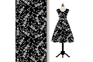 Dress fabric pattern with dancing skeletons
