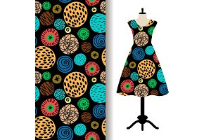 Womens dress fabric pattern with dots