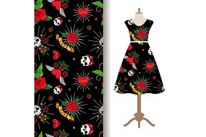 Dress fabric pattern with funny tattoo