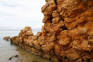 Eroded rock in the beach