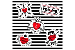 Patches collection on love thematic
