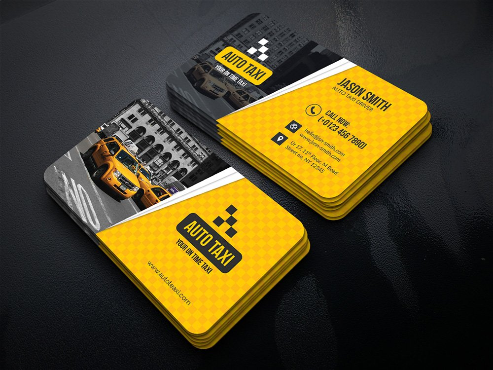auto taxi business cards business card templates. Black Bedroom Furniture Sets. Home Design Ideas