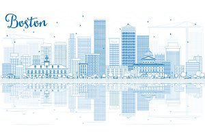 Outline Boston Skyline