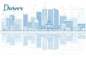 Outline Denver Skyline