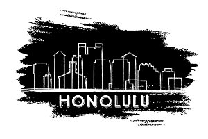 Honolulu Skyline Silhouette.