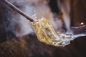 Close-up of a molten glass