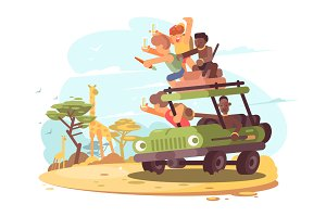 Group of tourists on safari