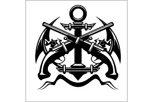 Pirate Emblem - Anchor and Pistol - Vector illustration pirate sign