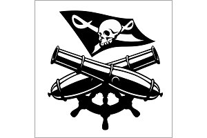 Piracy flag and crossed canon