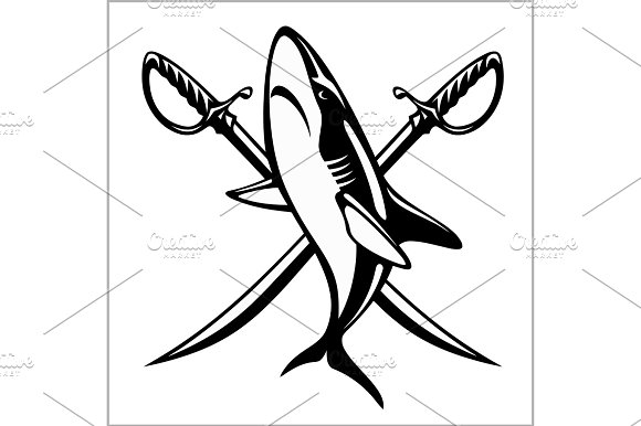 Vector Illustration Pirate Emblem With Crossed Sibers And Shark
