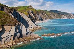 Cliffs and ocean in Zumaia coast
