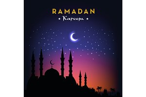 Ramadan Kareem greeting card with mosque and night sky. Moon and stars. Vector illustration.