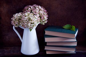 Dried hydrangea flowers and books
