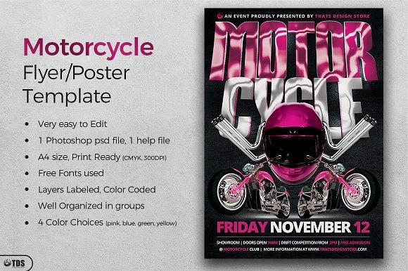free motorcycle ride flyer template designtube creative design content. Black Bedroom Furniture Sets. Home Design Ideas