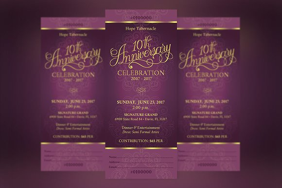 Church Anniversary Banquet Ticket ~ Templates ~ Creative Market
