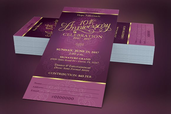 Church anniversary banquet ticket templates creative market stopboris
