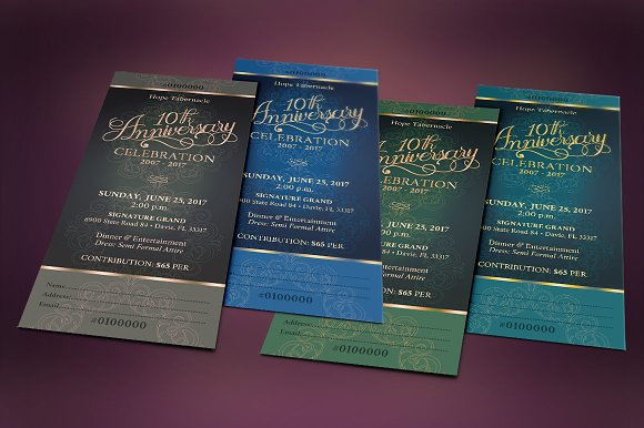 church anniversary banquet ticket templates creative market
