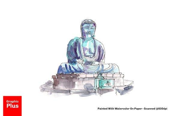 Amida Buddha Watercolor Painting