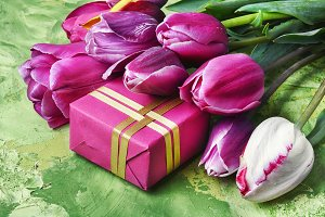 tulips and gift box