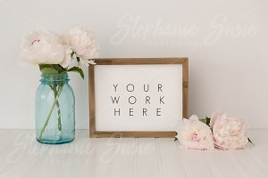 Peonies Blue Jar Wood Frame Mock Up