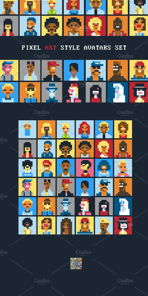 Pixel Art Style Characters Avatars