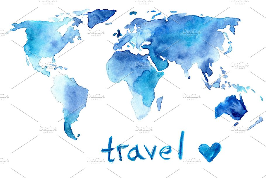 Watercolor map of the world ~ Illustrations ~ Creative Market