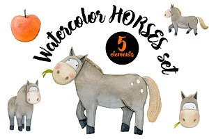 Watercolor Horses Set