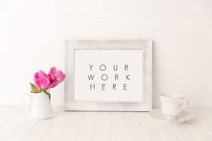 White Frame Tea Cup Peonies Styled
