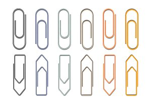 Set of different metal paper clips