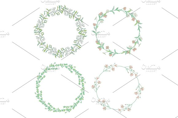 Wreaths Branches Laurels With Herbs Plants And Flowers