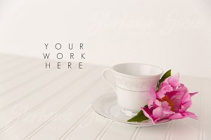 Tea Cup with Pink Peony Styled Mock