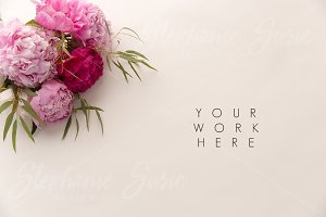 Pink Peonies Styled Mock Up Photo