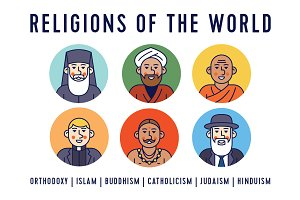 Religion of the world. Line icons