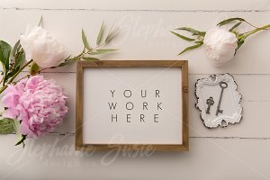 Wood Frame & Peonies Styled Mock Up