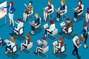 Isometric People Training Room Icon