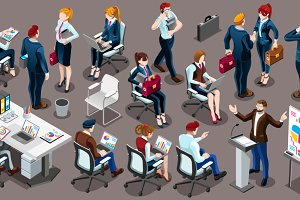Isometric People Working Staff 3D Ic