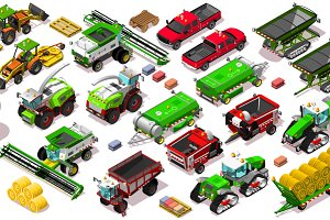 Isometric Vehicle Farm 3D Icon Set