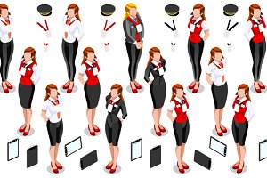 Isometric Woman Girl Icon Set