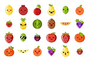 Cute emoji fruit