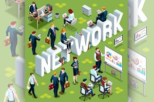 Network Isometric People Icon 3D Set