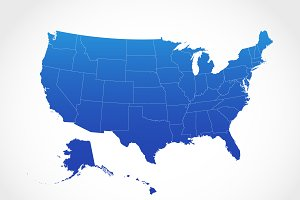 United States Map in Blue