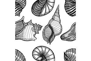 seamless pattern of seashells.