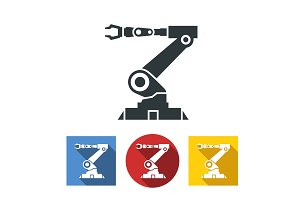 Flat icons of robotic hand machine tool at industrial manufacture factory