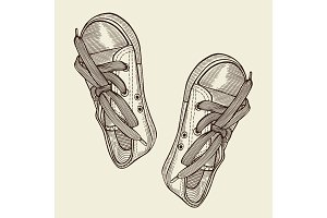Vector illustration black sports sneakers