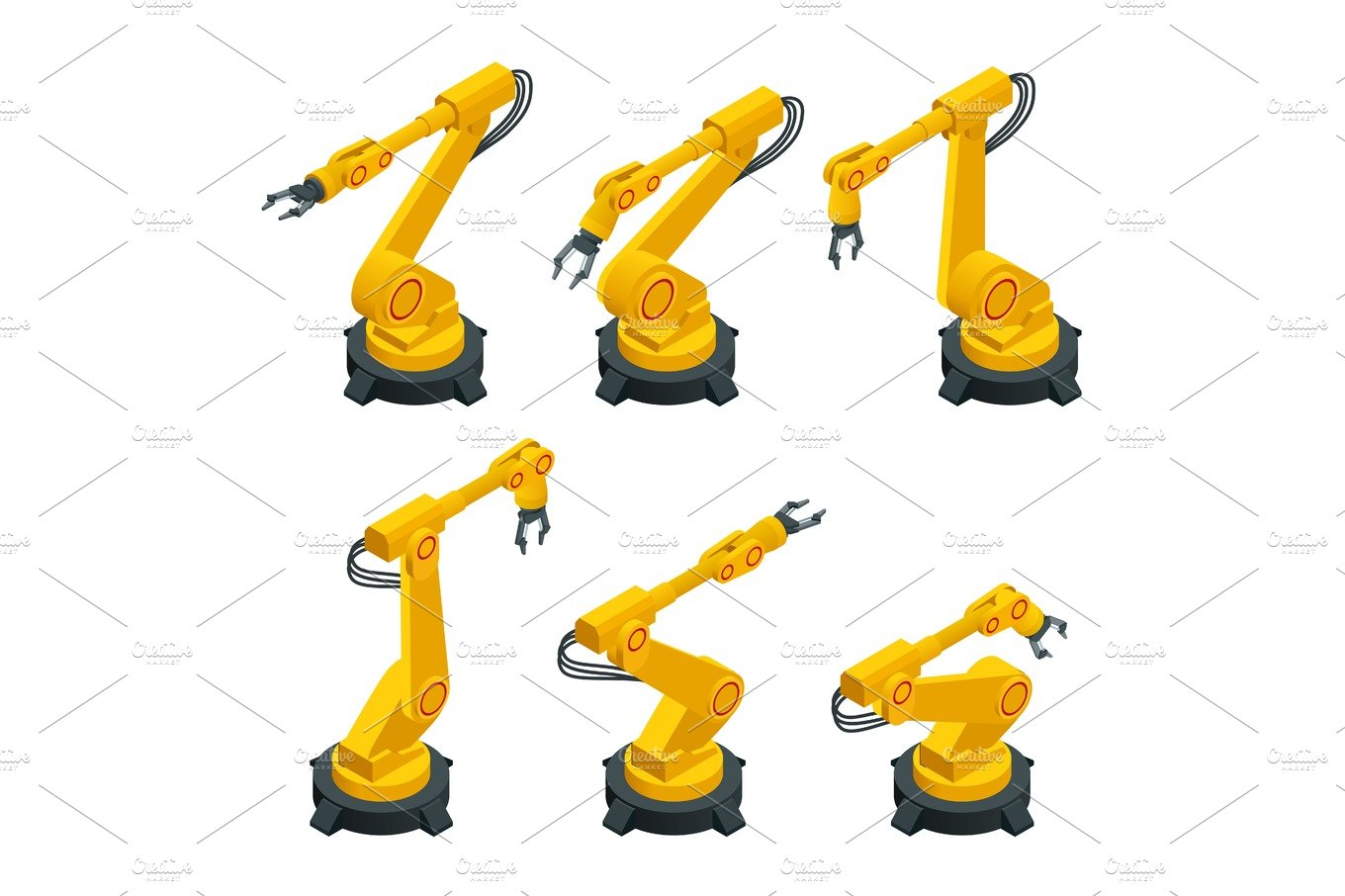 Project blueprint robotic arm illustrations creative market isometric robotic arm hand industrial robot flat vector icons set robotics industry insights malvernweather Gallery