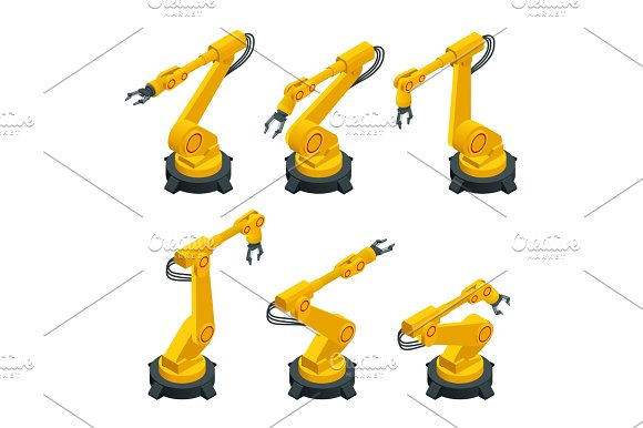 Isometric Robotic Arm Hand Industrial Robot Flat Vector Icons Set Robotics Industry Insights Automotive And Electronics Are Top Industry Sectors For Robotics Use Flat 3D Vector Illustration