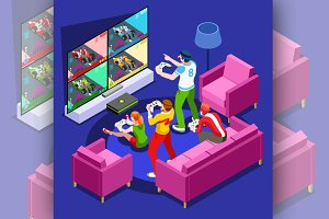 Video Game Console Gaming Isometric