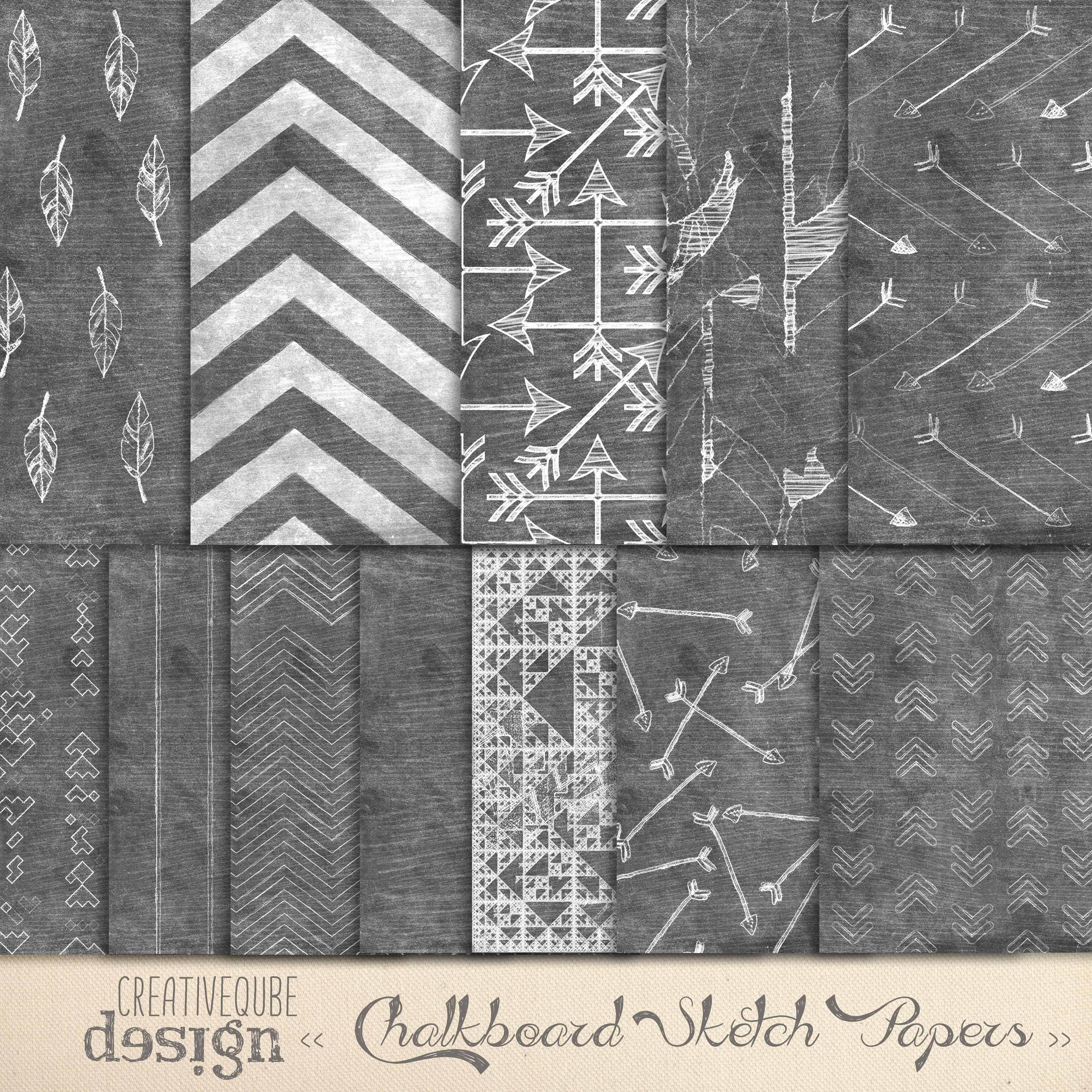 Chalkboard Art Aztec Digital Paper Custom Designed Graphic Patterns Creative Market