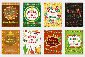 Cinco de Mayo set greeting card, template for flyer, poster, invitation. Mexican celebration with traditional symbols. Collection with bunting, sambrero, tequila, cactus, maracas. Vector illustration.