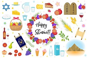 Shavuot icons set, flat style. Collection design elements on the Jewish holiday Shavuot with milk, fruit, torus, mountain, wheat, basket. Isolated on white background. Vector illustration, clip-art.